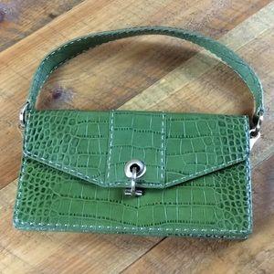 Ann Taylor green embossed leather handbag